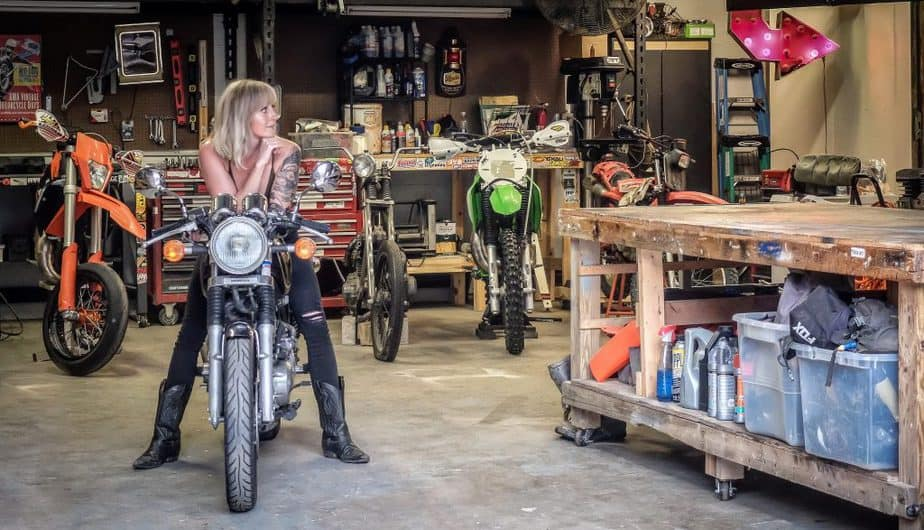 Brianne sitting on the GB inside her shop home in Columbus, OH