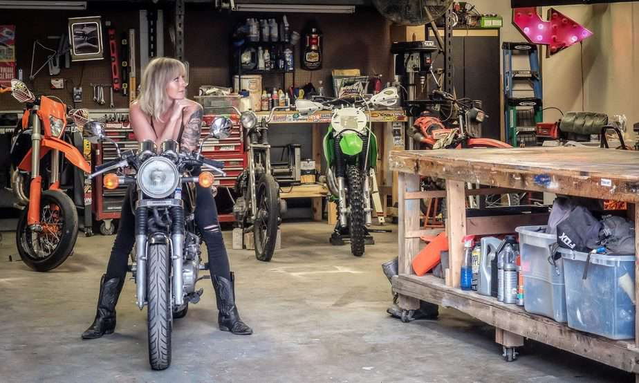Brianne on the 1989GB500 in her shop in Columbus, OH